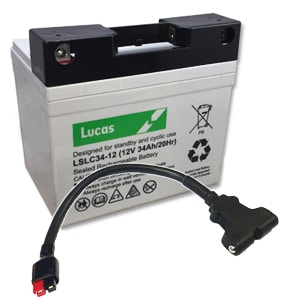 34ah lucas golf battery with lead & t-bar