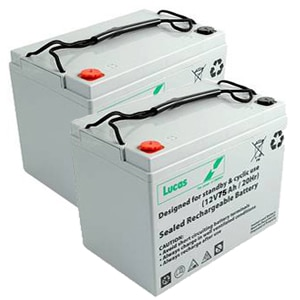 pair of 75ah 85ah lucas batteries
