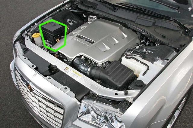 Location of the battery in Chrysler 300C car models