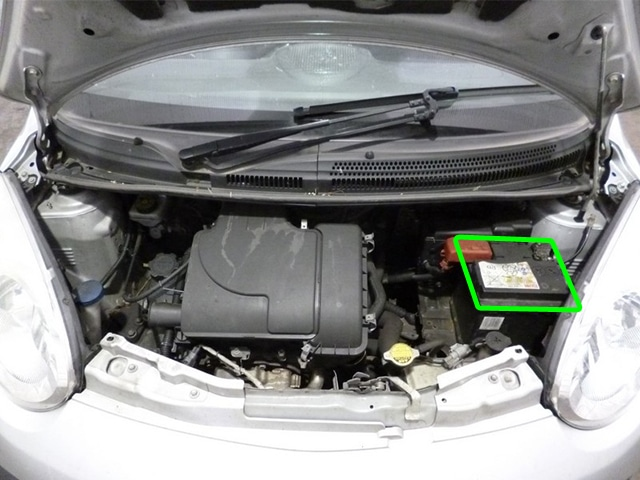 Location of the battery in Citroen C1 car models