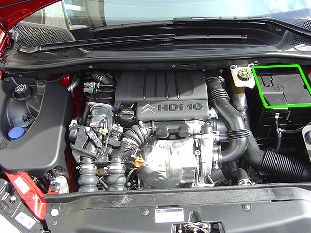 Locate the battery in Citroen C4 car models