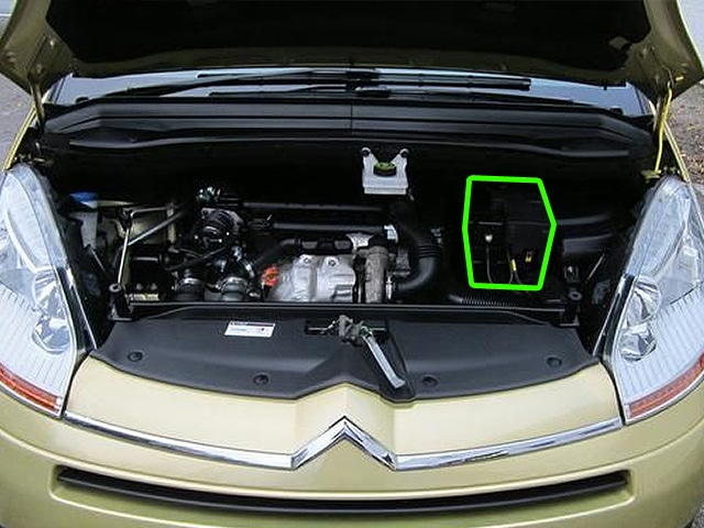 Locate the battery in Citroen C4 Picasso car models
