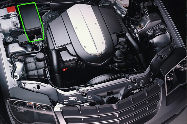 Location of the battery in Chrysler Crossfire car models