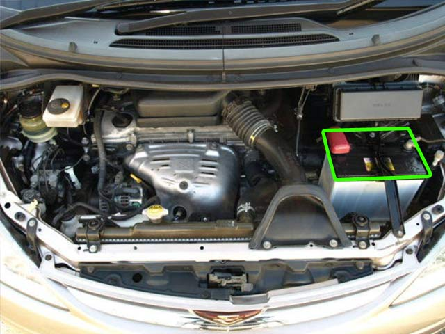 Toyota Previa, Lucida and Emina Car Battery Location