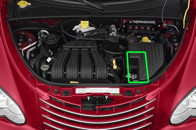 Location of the battery in Chrysler PT Cruiser car models