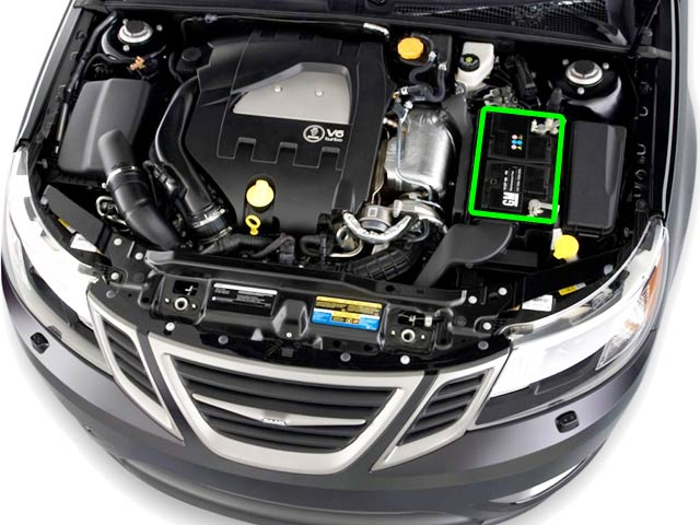 SAAB 9-3 Car Battery Location