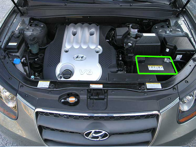 Hyundai Santa Fe Car Battery Location