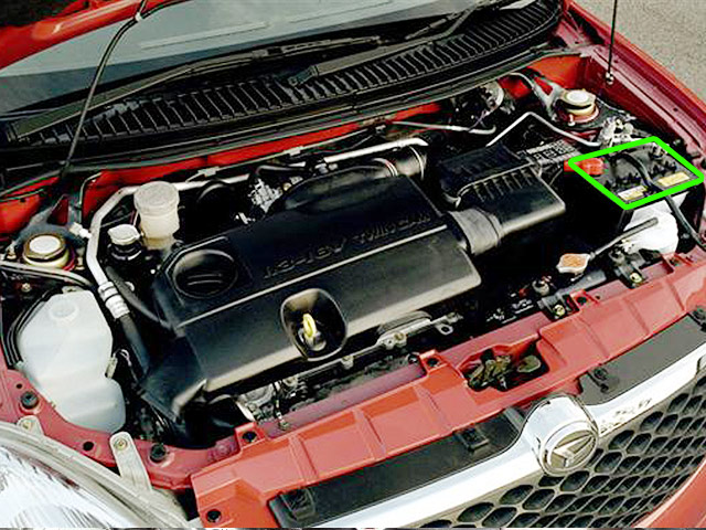 Daihatsu Sirion car battery location
