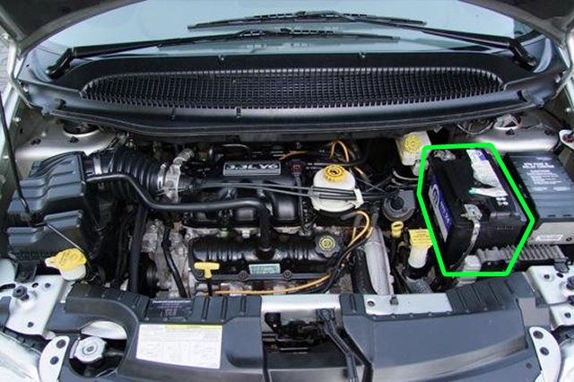 Location of the battery in Chrysler Voyager car models