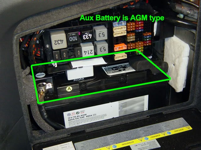 VW Phaeton Aux Battery Location in Boot / Trunk