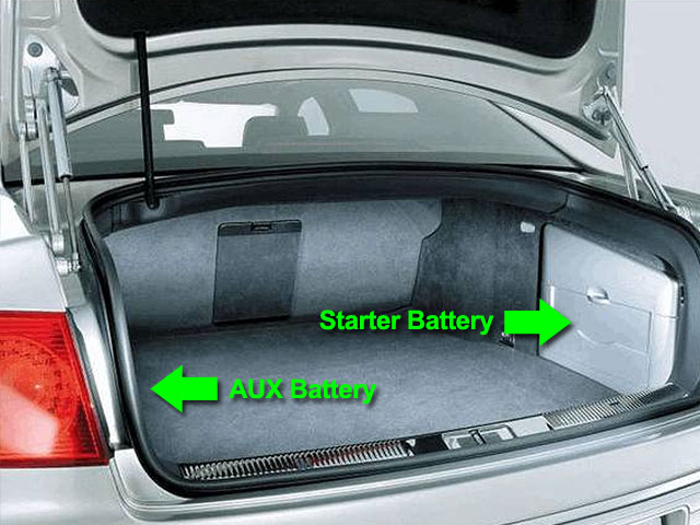 VW Phaeton Batteries in Boot / Trunk