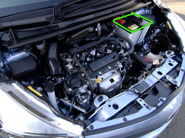 Toyota Yaris Car Battery Location