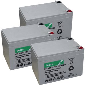 3 x lucas 12v 12ah batteries