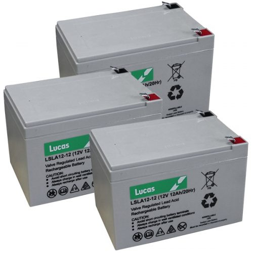3 x lucas 12v 12ah batteries